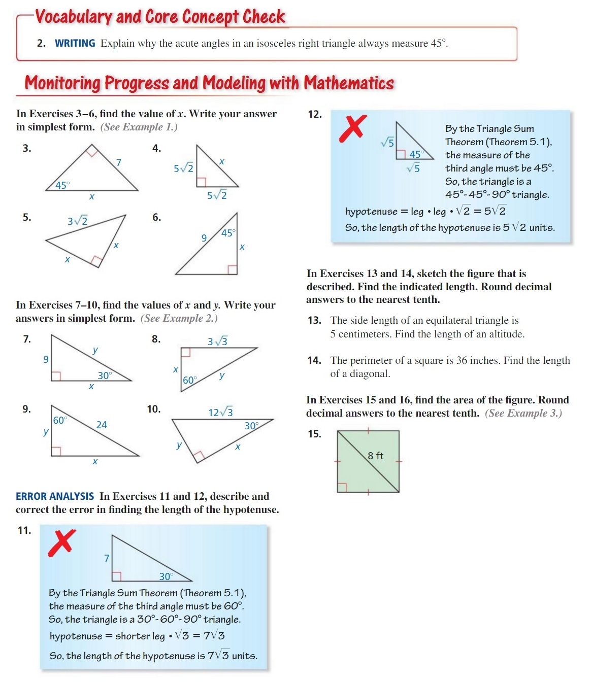 30 60 90 and 45 45 90 triangle worksheet with answers